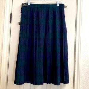 Vintage wool pleated plaid midi wrap skirt English
